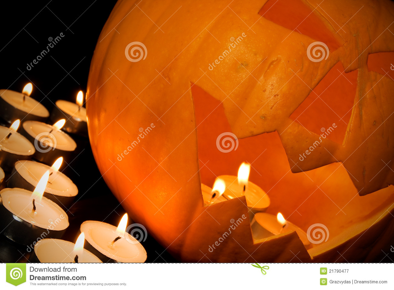 Halloween Pumpkin And Candles Royalty Free Stock ...