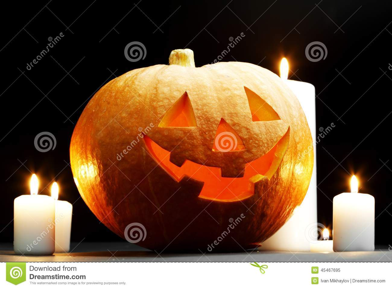 Halloween Pumpkin With Candles Stock Photo - Image: 45467695