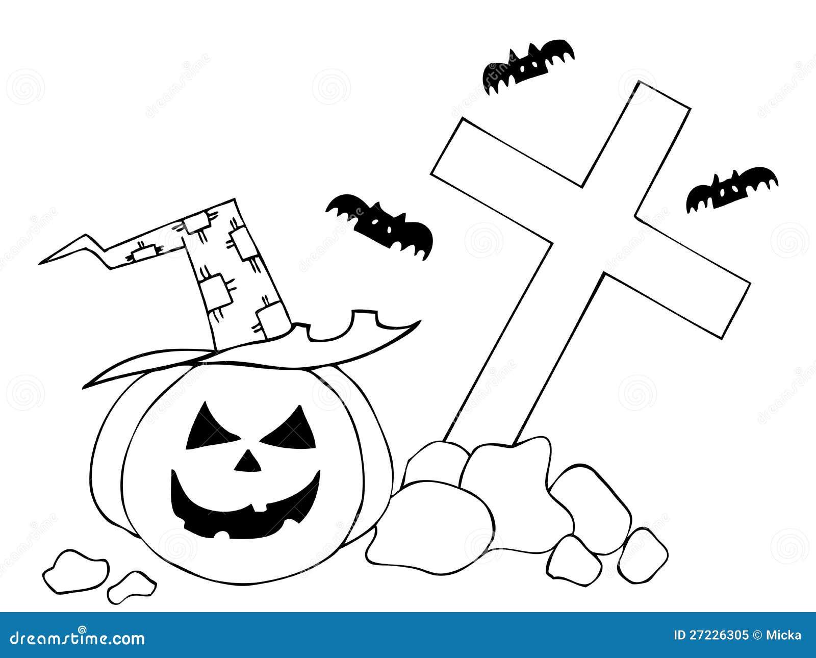 halloween pumpkin on cemetery stock vector illustration of evil