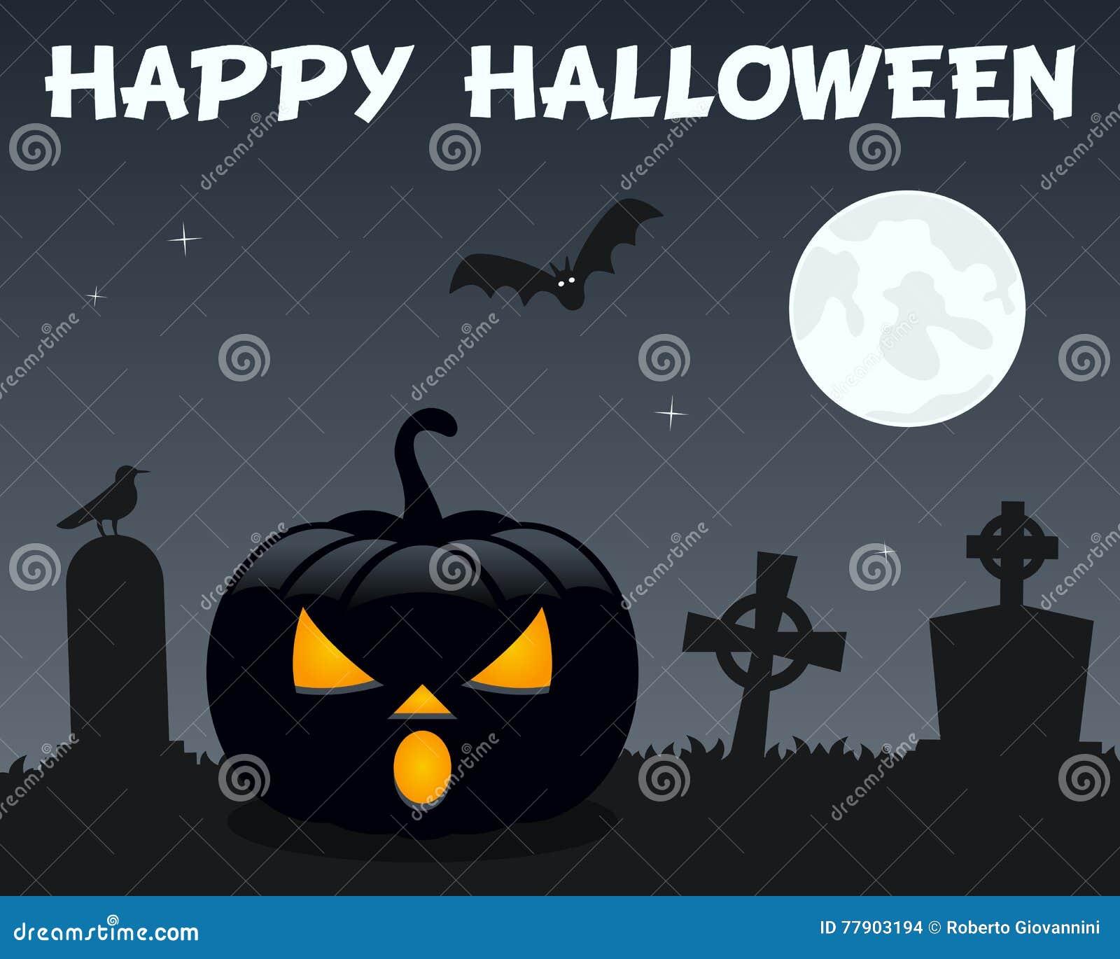 Halloween Pumpkin & Cemetery On Black Stock Vector