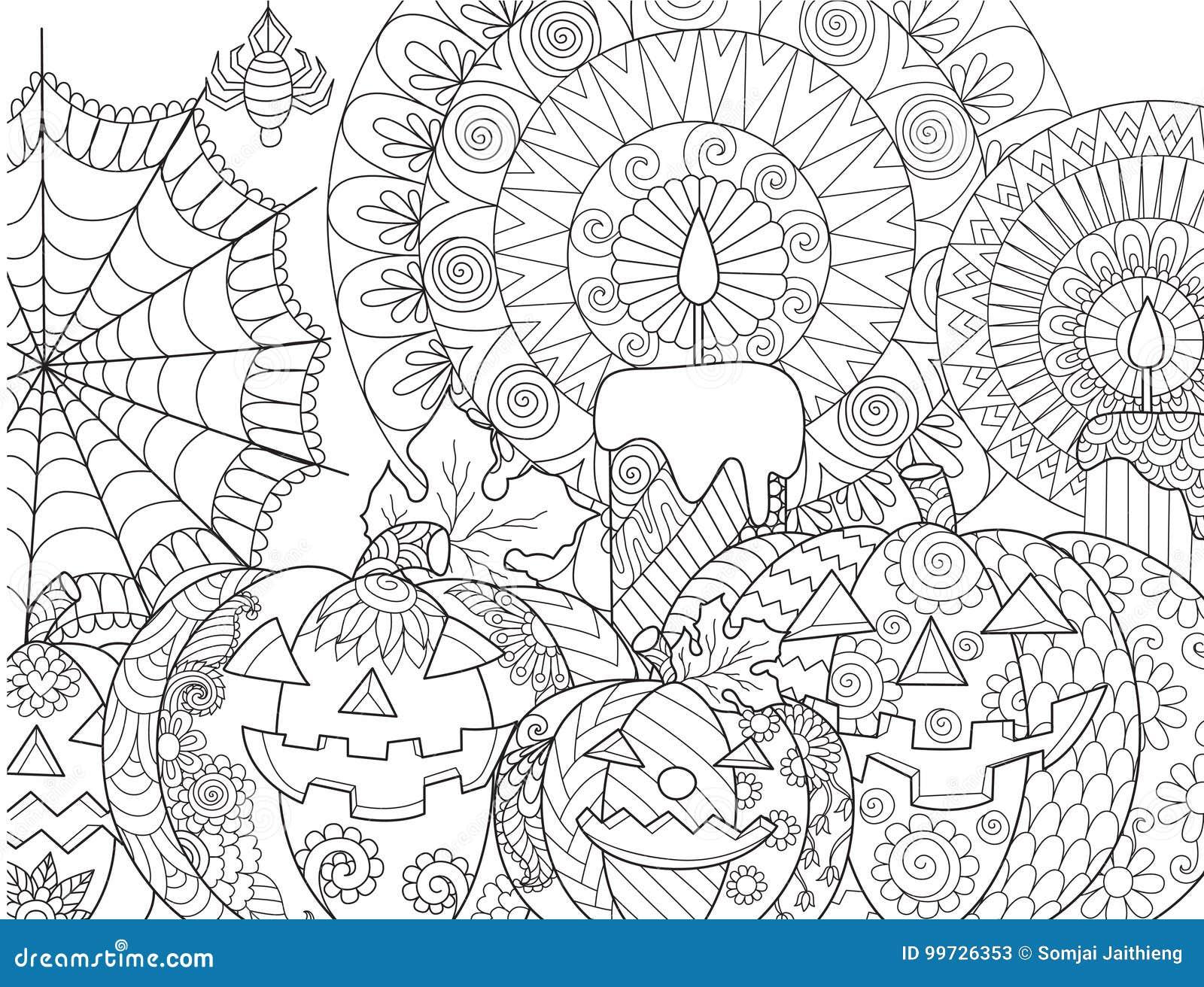 Halloween pumpkin coloring stock vector. Illustration of leaf - 99726353
