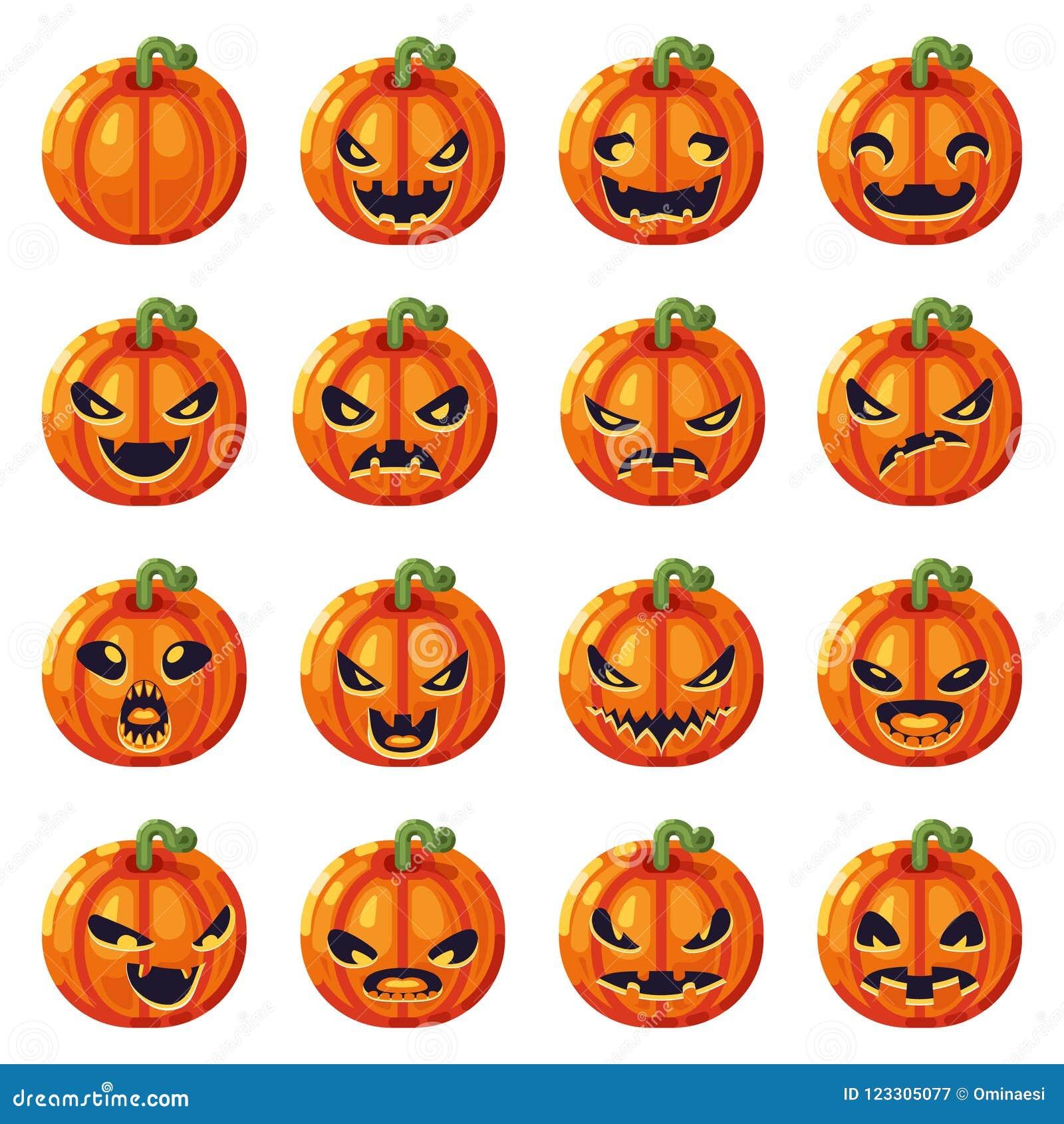 halloween pumpkin decoration scary faces smile emoji icons set