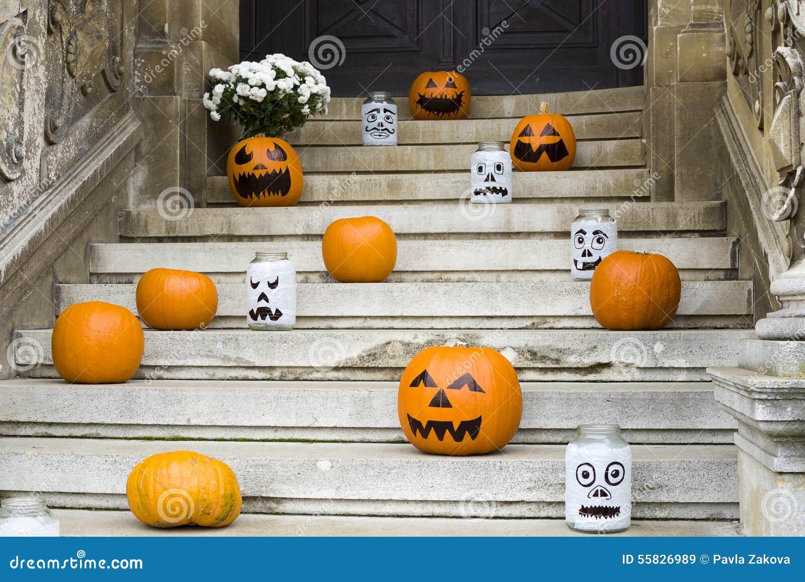 Halloween Pumpkin Decoration On Stairs Stock Photo - Image: 55826989