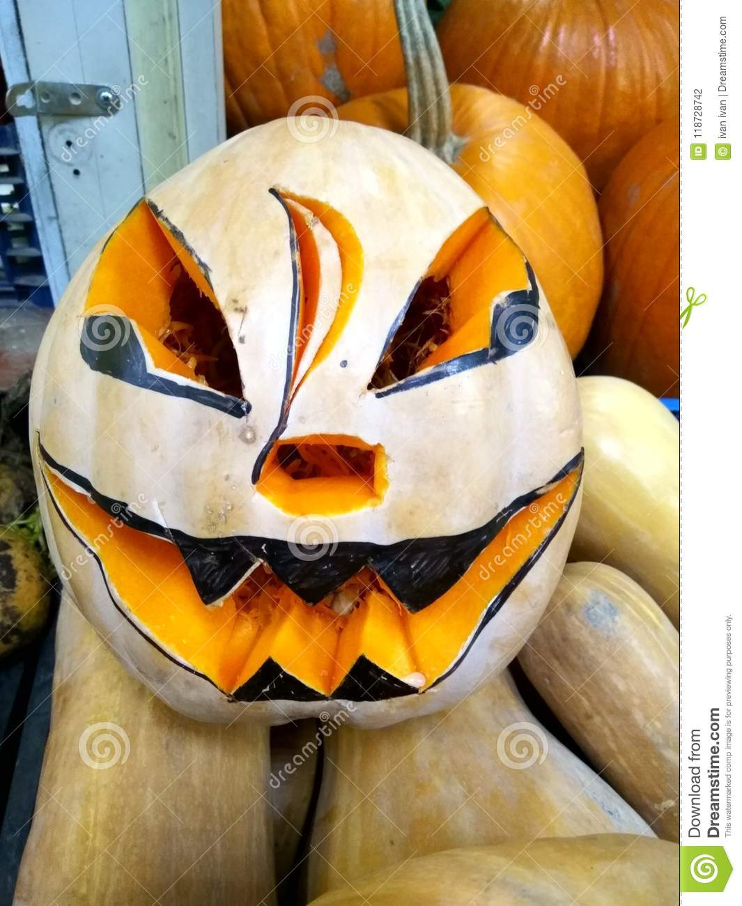 halloween pumpkin design with copy space stock photo - image of