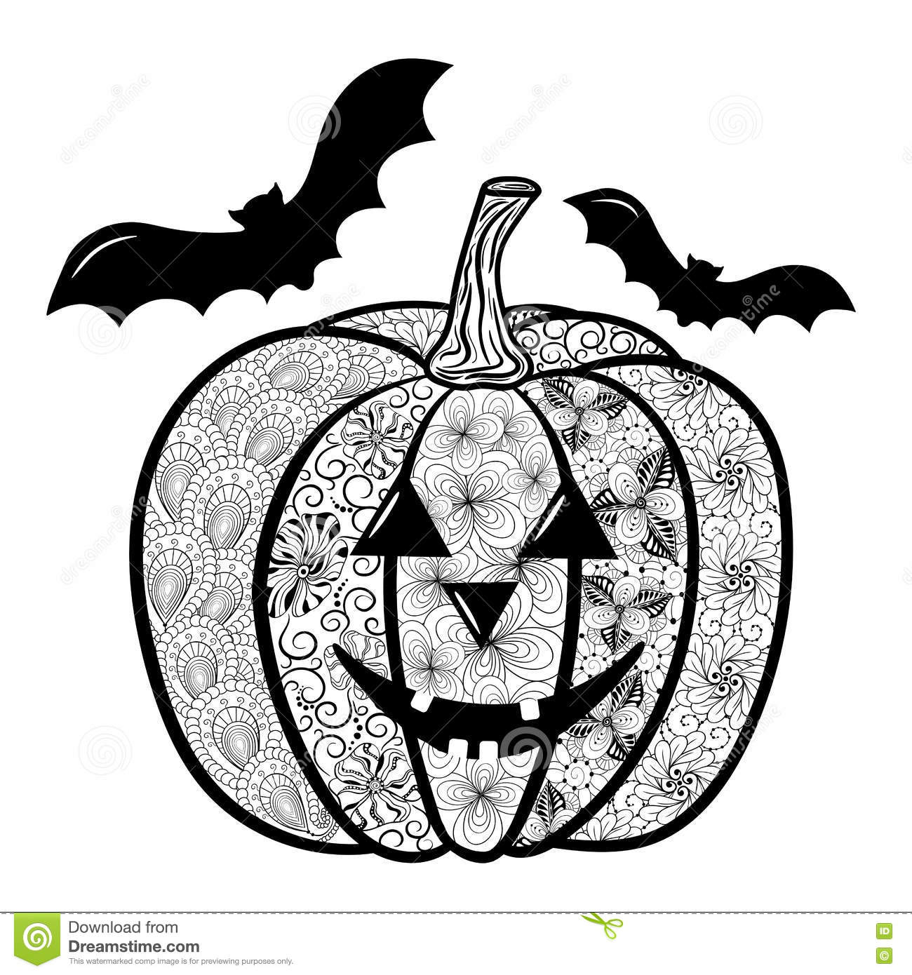 Halloween Pumpkin Doodle Stock Vector Illustration Of