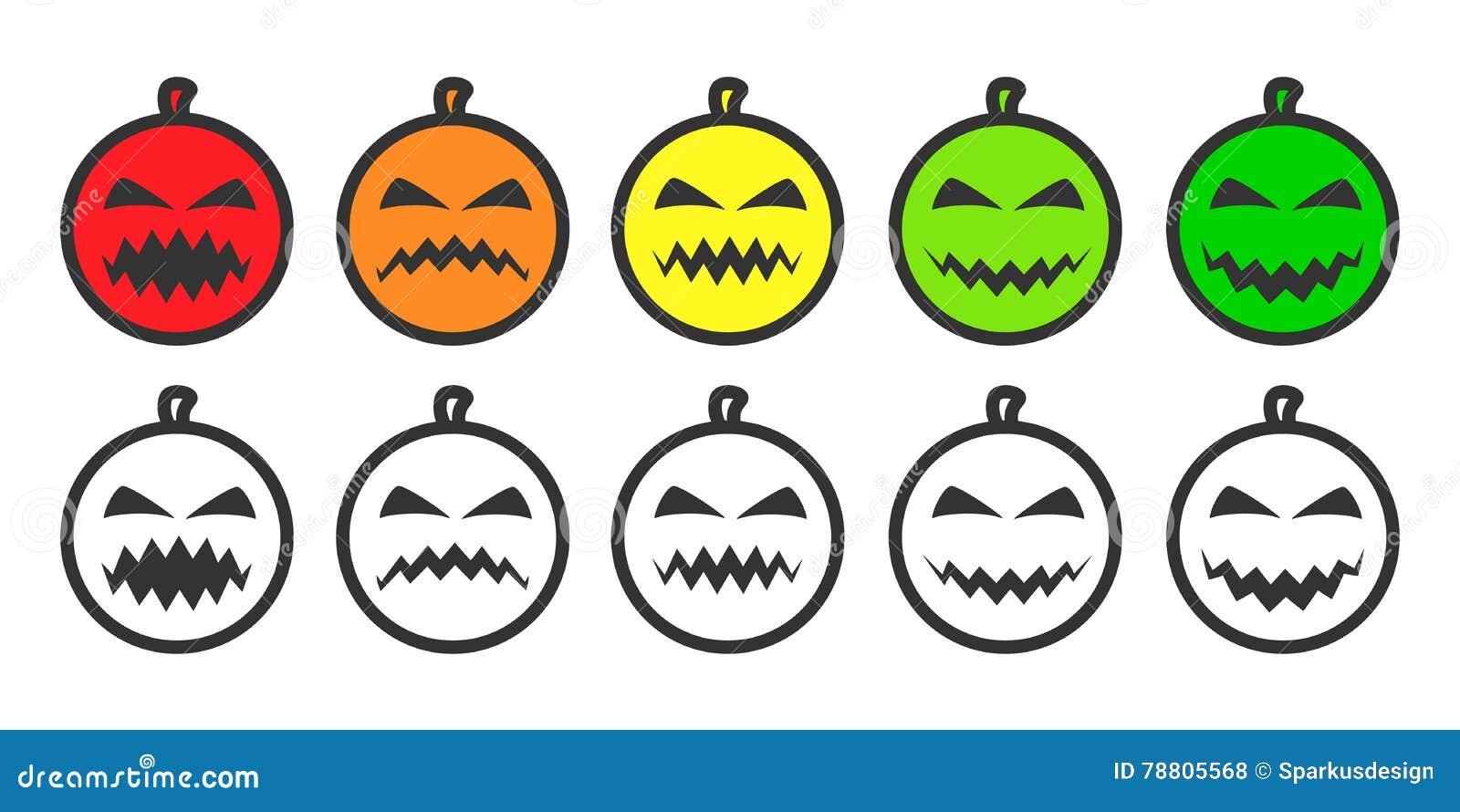 Halloween Pumpkin Emoji Icons Vector Illustration