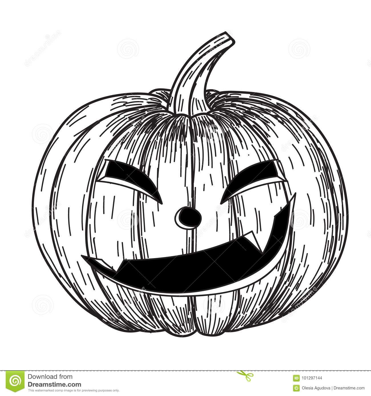 Creepy Halloween Pumpkin Drawings.Halloween Pumpkin With Evil Scary Smile In Funny Hand