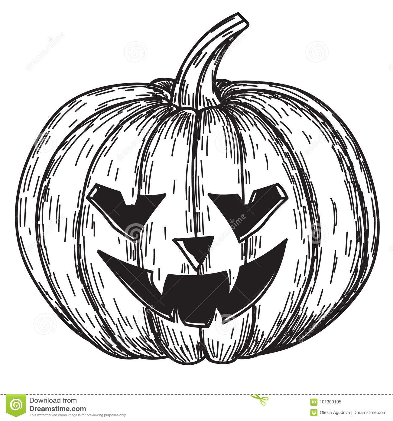 halloween pumpkin with evil scary smile in funny hand drawing doodle