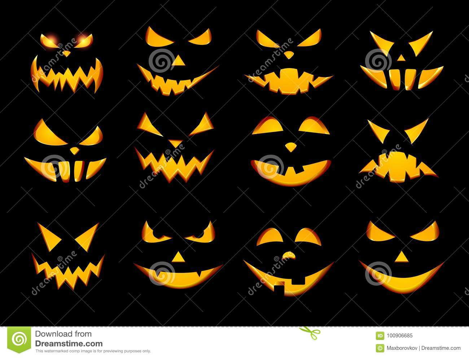Halloween Pumpkin Face Patterns On Black Stock Vector