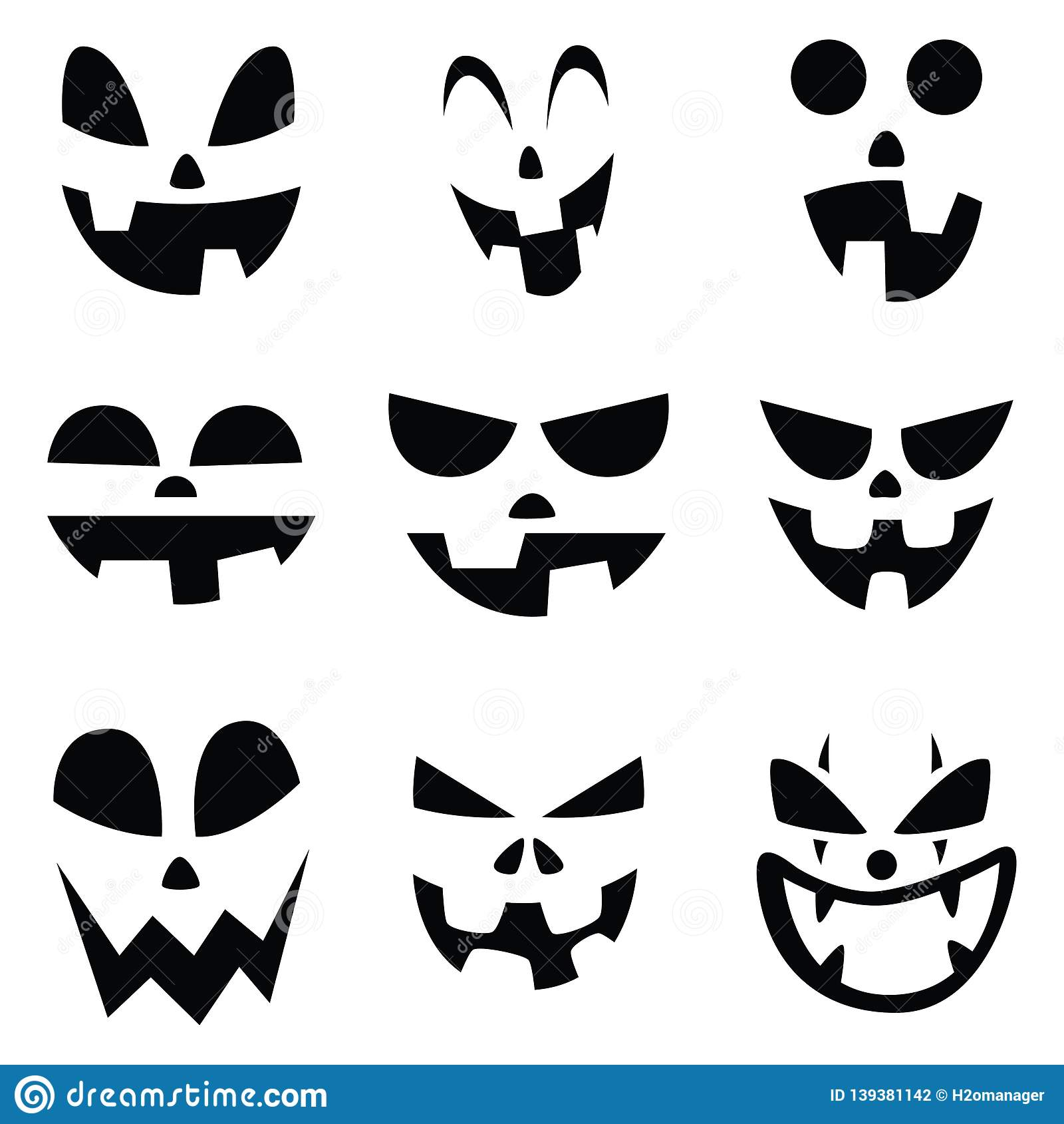 Halloween Pumpkin Faces Smile And Funny Set