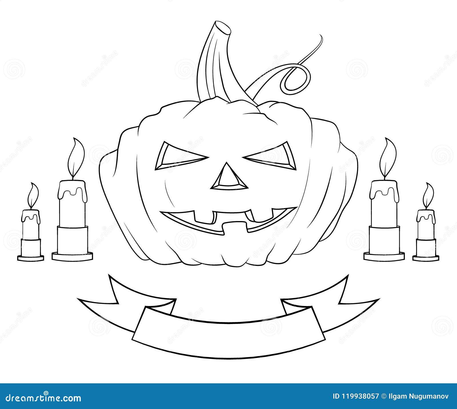 halloween pumpkin four candles and tape hand drawing pumpkin