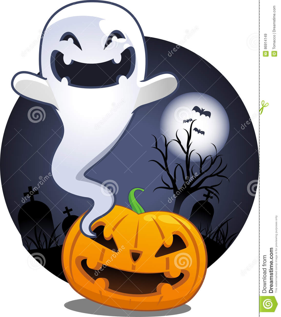 halloween pumpkin ghost in cemetery stock illustration