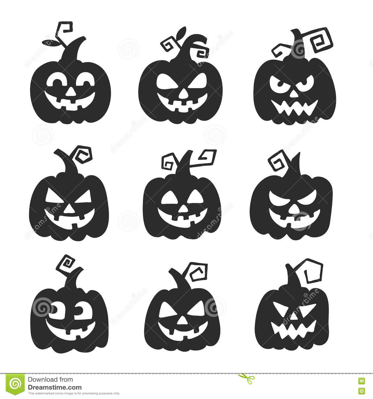 Halloween Pumpkin For Halloween Party Trick Or Treat Vector Icons ...