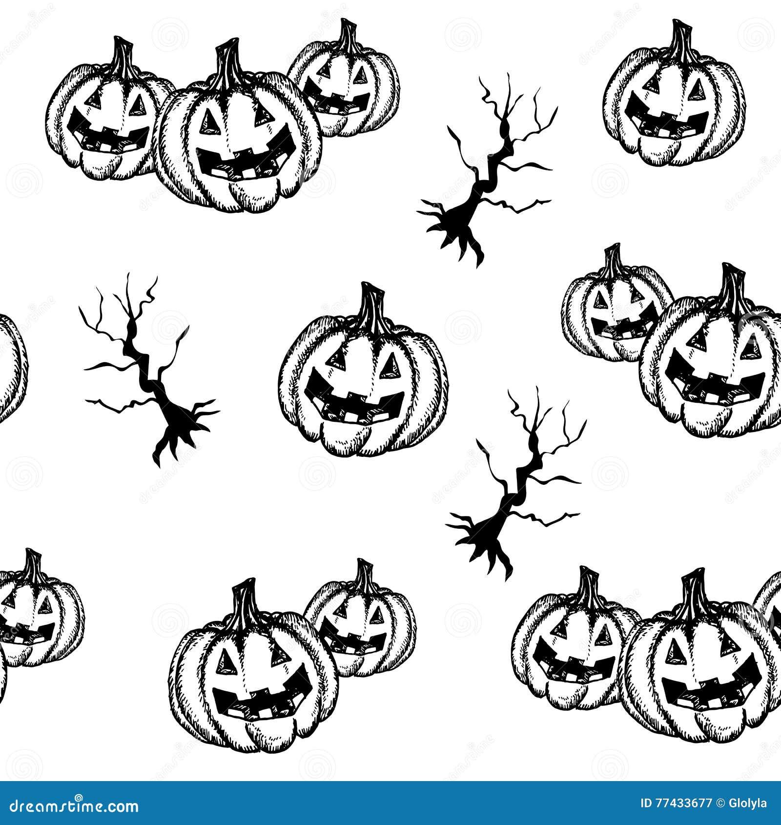 Halloween Pumpkin Hand Draw Style Cartoon Vector