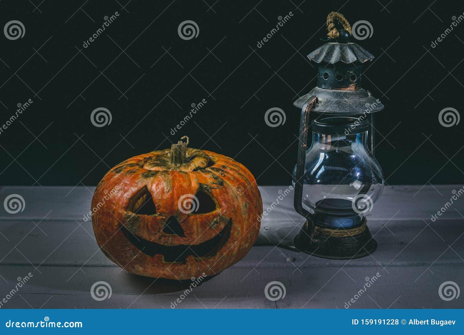 Halloween Pumpkin And Lamp  Happy Halloween Holiday
