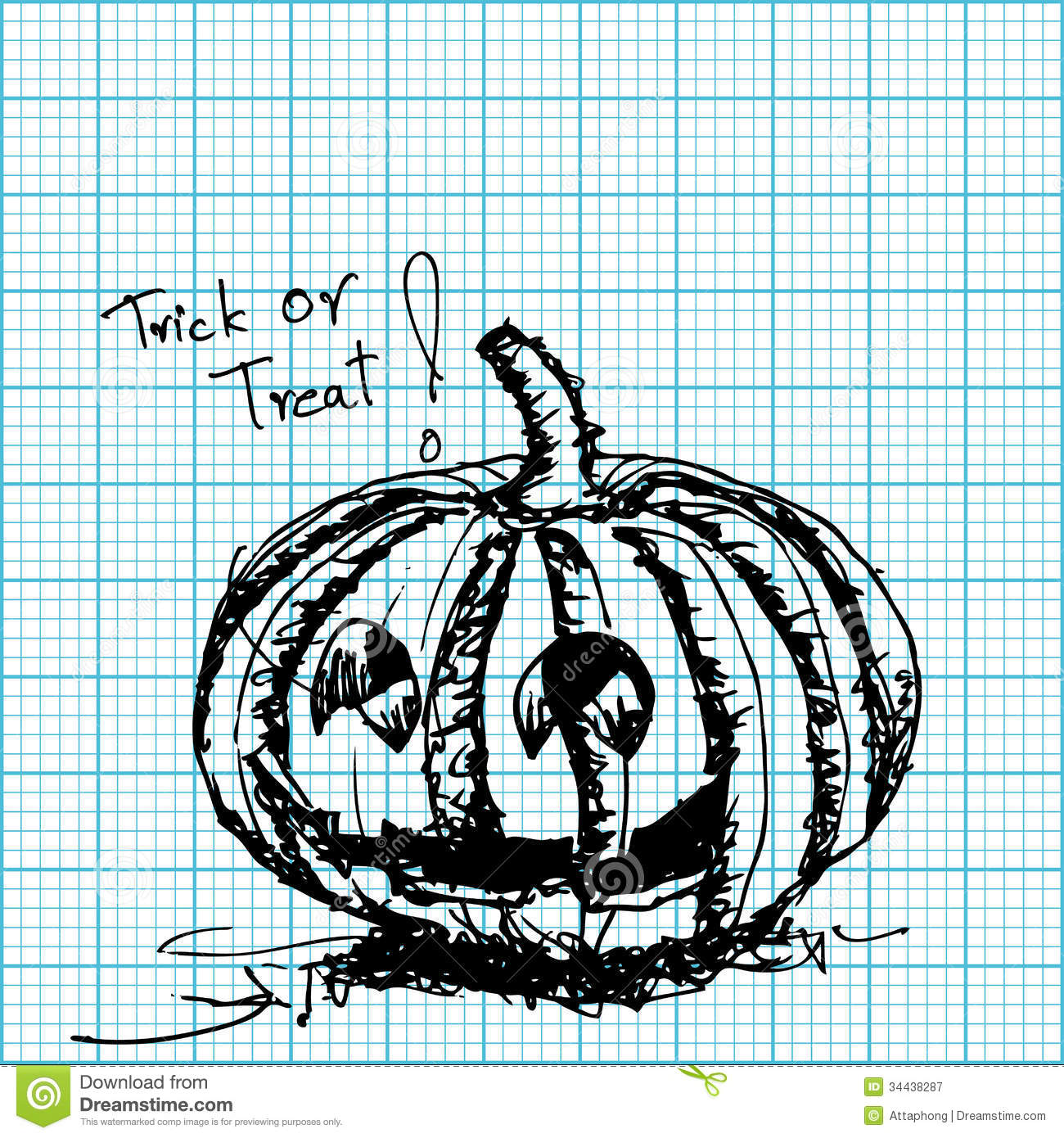 halloween pumpkin sketch on graph paper stock vector illustration