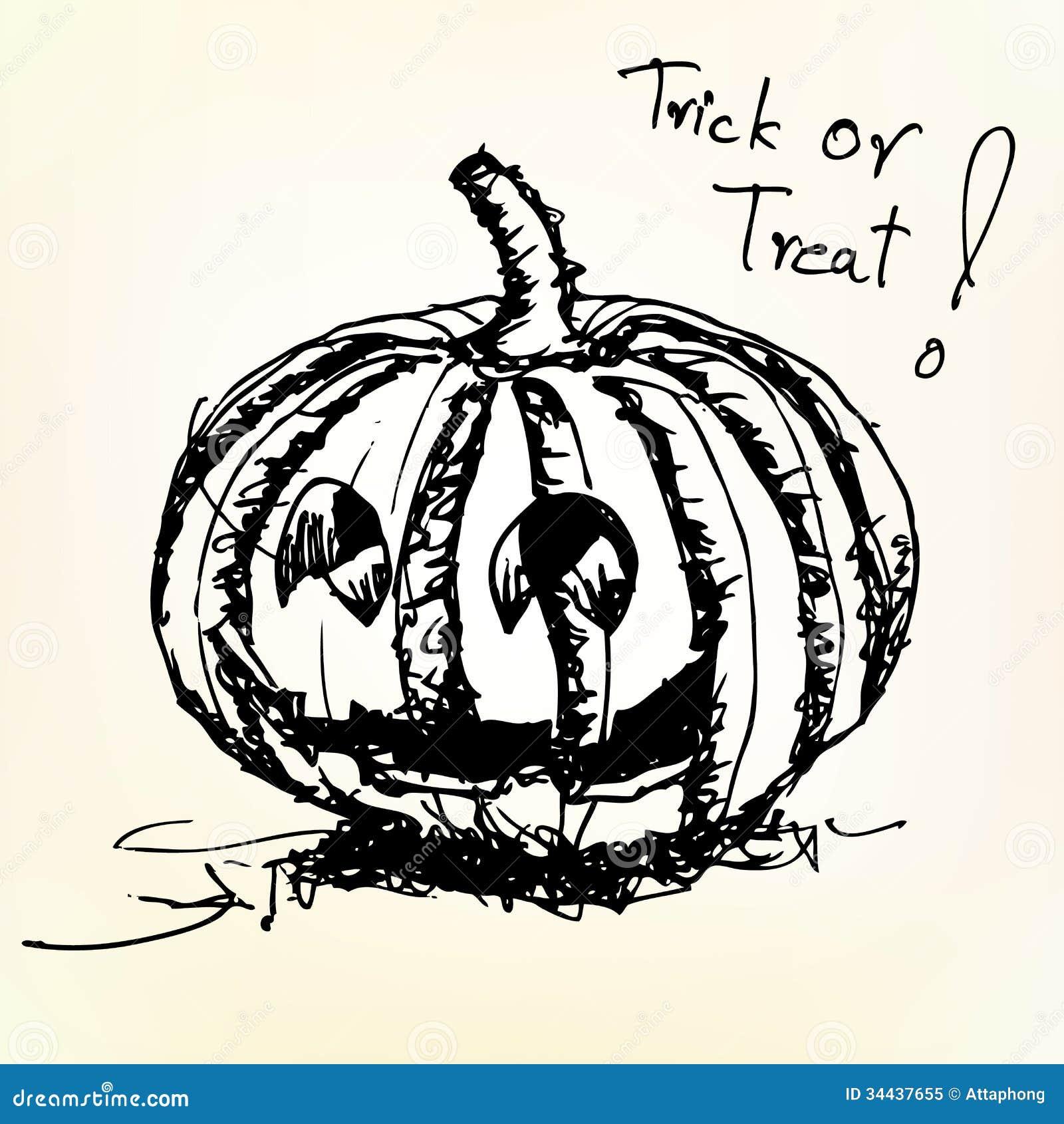 Halloween pumpkin sketch vector royalty free stock photo for Funny pumpkin drawings