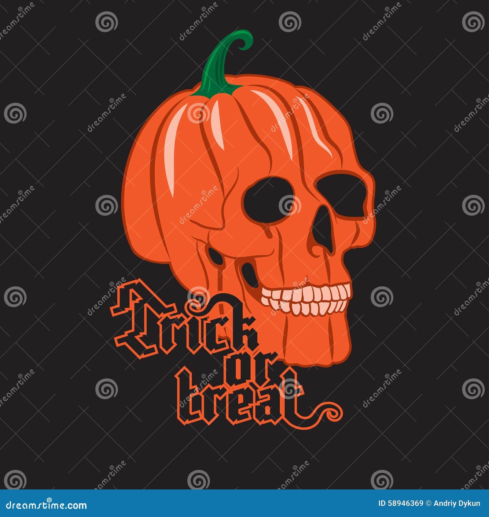 Halloween Pumpkin Skull Stock Vector Illustration Of Creepy 58946369