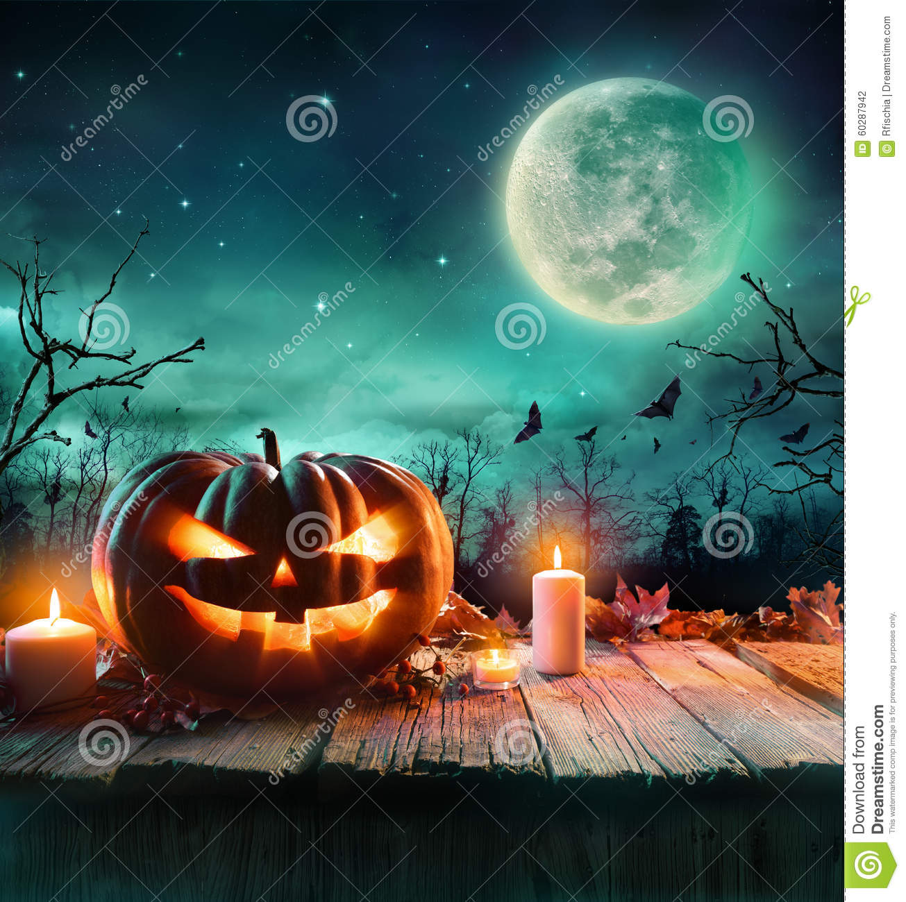 Halloween Pumpkin In A Spooky Forest At Night Stock Photo - Image ...