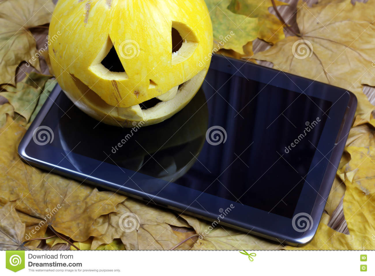 halloween pumpkin and tablet stock photo - image of light, happy