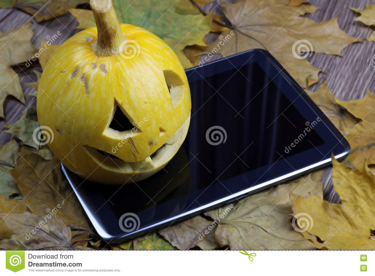 halloween pumpkin and tablet stock photo - image of decoration, jack