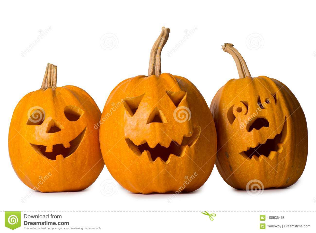 halloween pumpkin three funny face isolated on white background