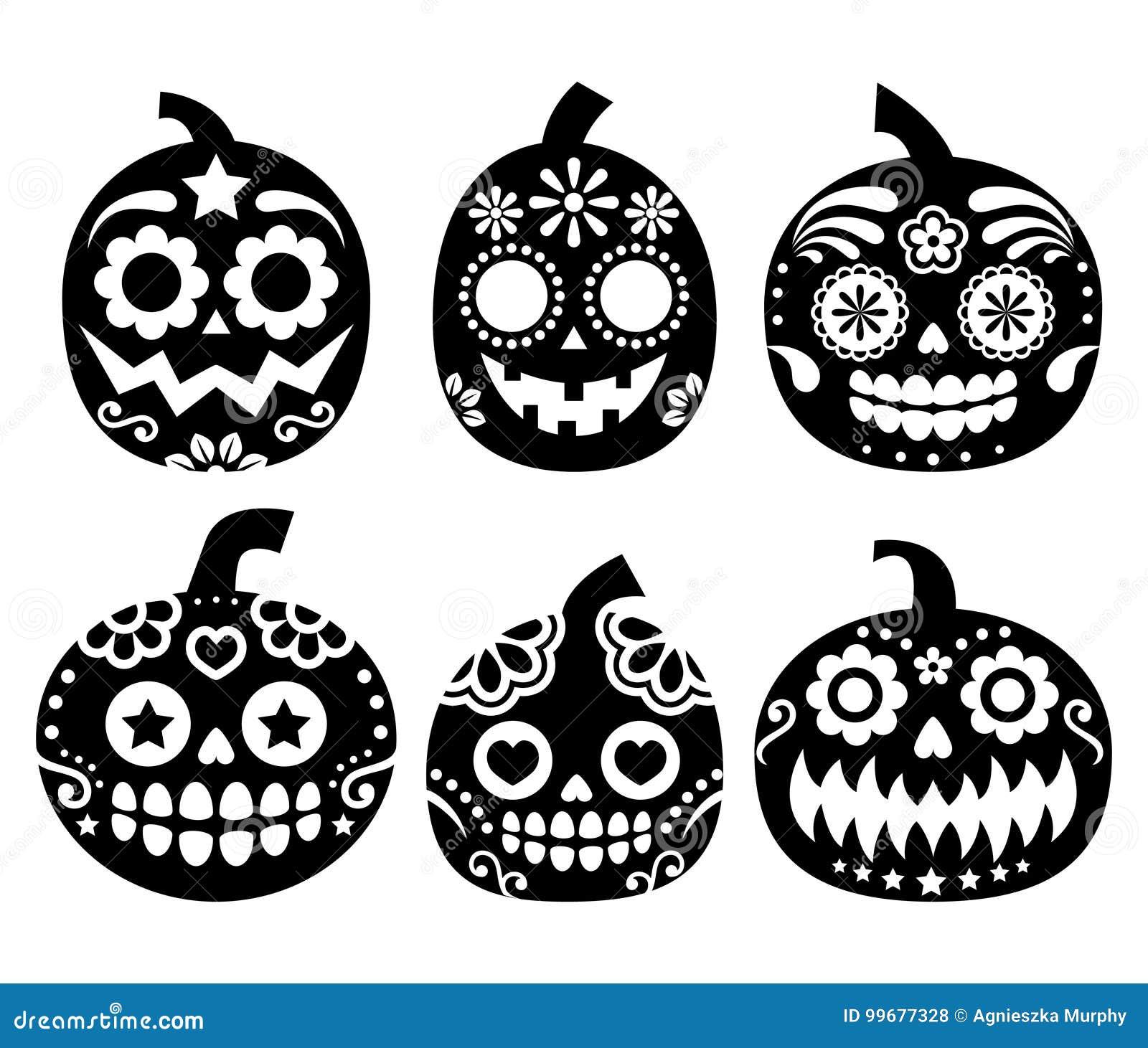 Halloween Pumpkin Vector Design Mexican Sugar Skull