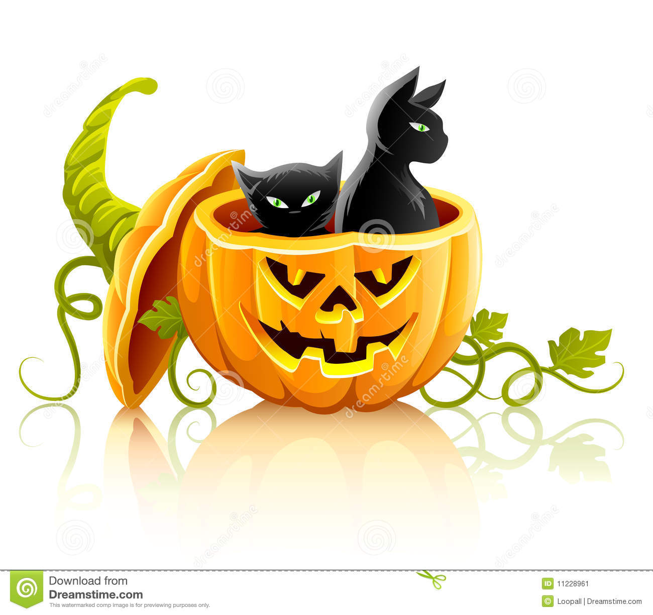 Perfect Halloween Pumpkin Vegetable With Black Cats
