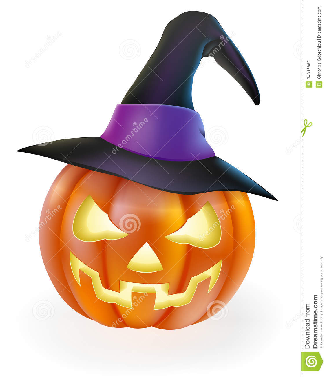 halloween pumpkin in witch hat - Cartoon Halloween Drawings