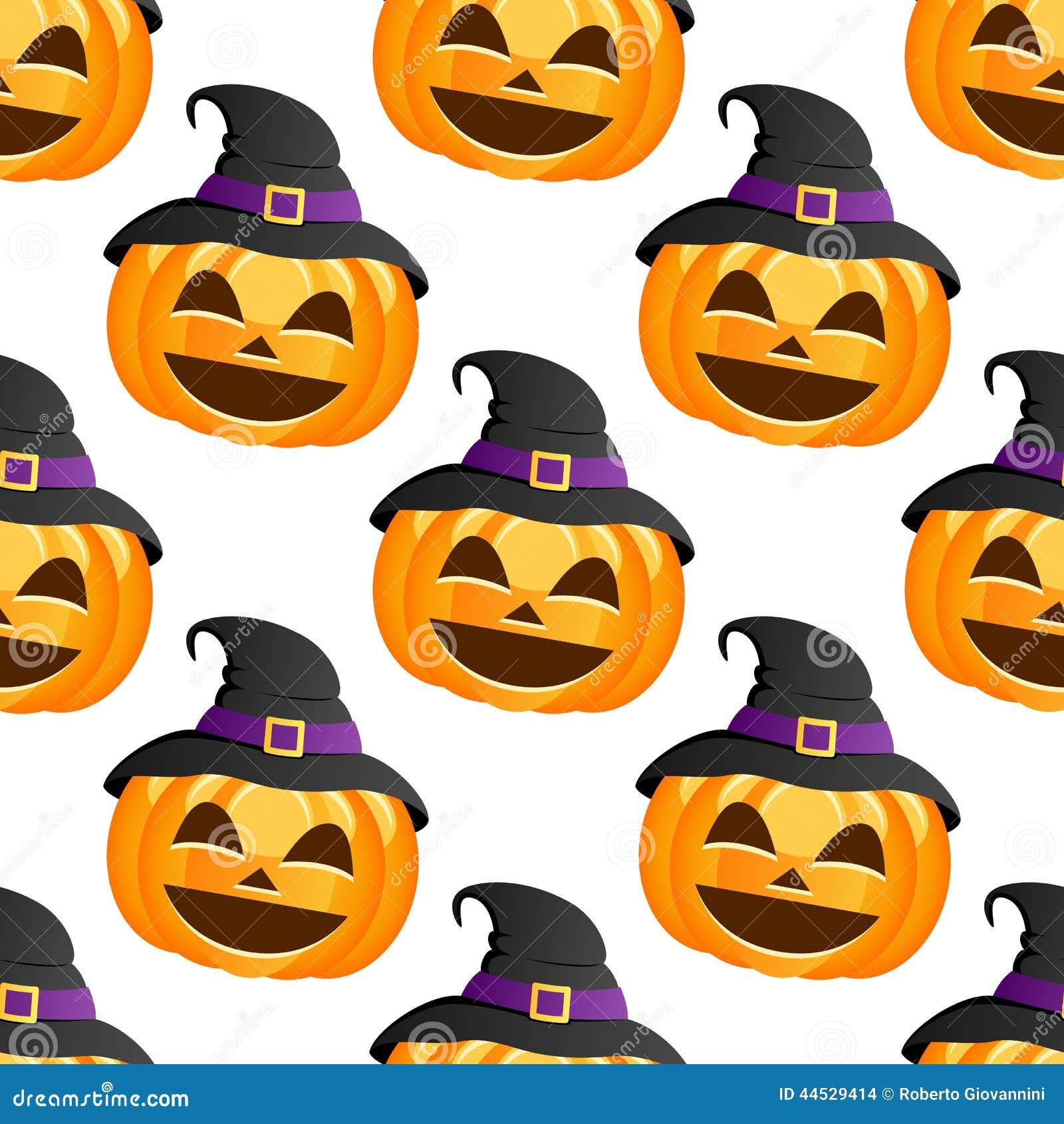 Halloween pumpkin witch hat seamless stock vector image for Cartoon pumpkin patterns