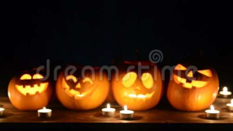 Halloween Pumpkins On Black Background Stock Video Video Of Glow Many 100129161