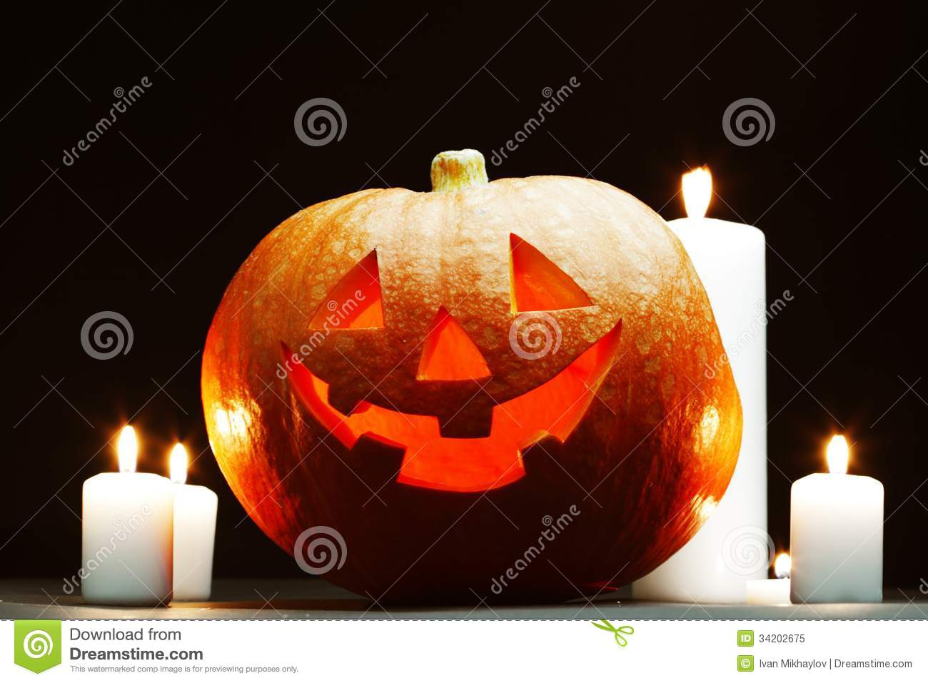Halloween Pumpkins With Candles Royalty Free Stock Photo ...