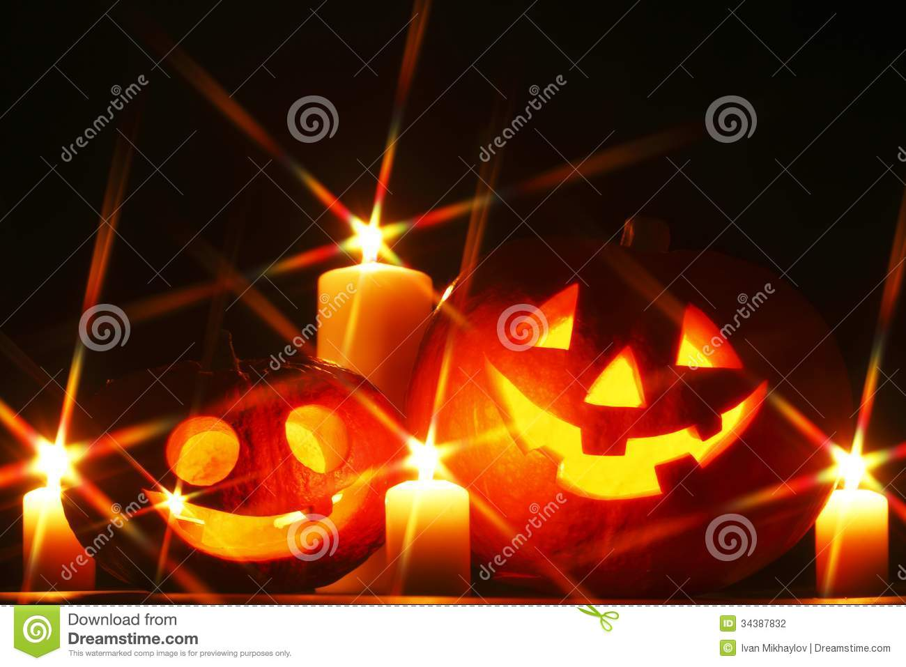 Halloween Pumpkins And Candles Stock Photography - Image ...