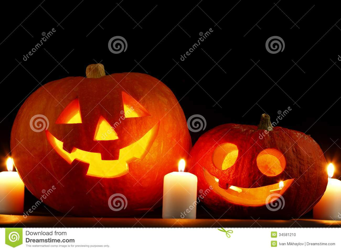 Halloween Pumpkins And Candles Stock Photo - Image: 34581210