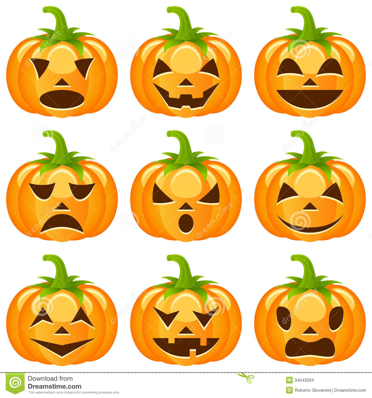 Halloween Pumpkins Collection Stock Vector - Image: 34542594