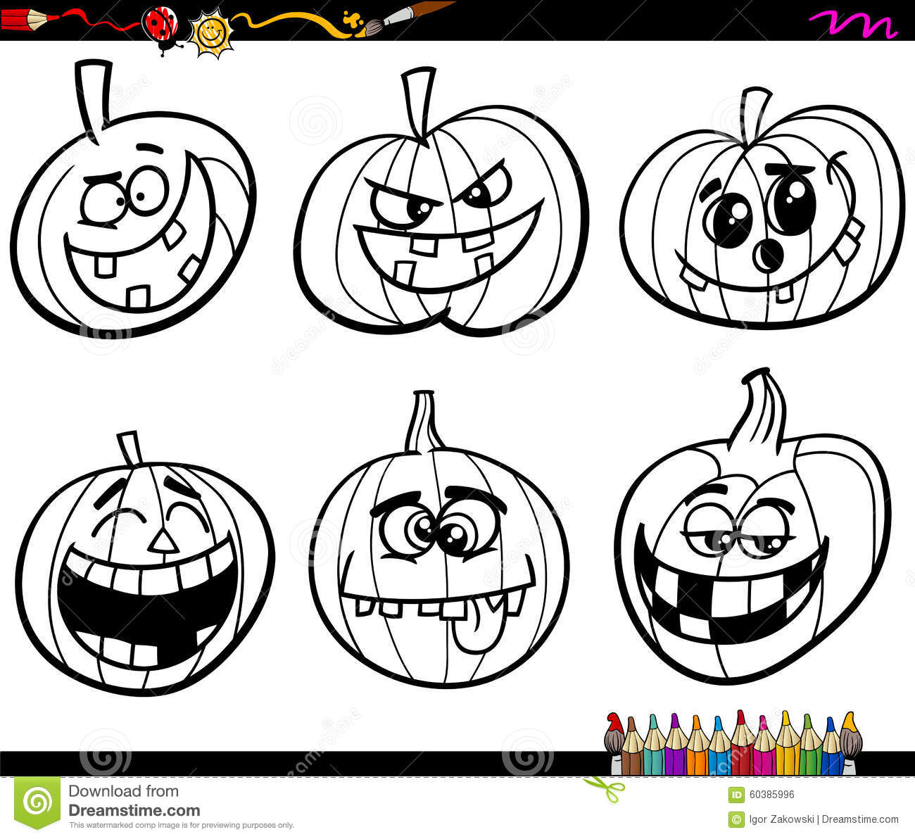 Halloween Pumpkins Coloring Page Stock Vector - Illustration of clip ...