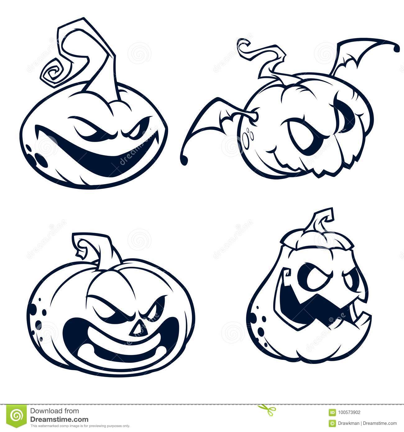 halloween pumpkins curved with jack o lantern face. vector cartoon