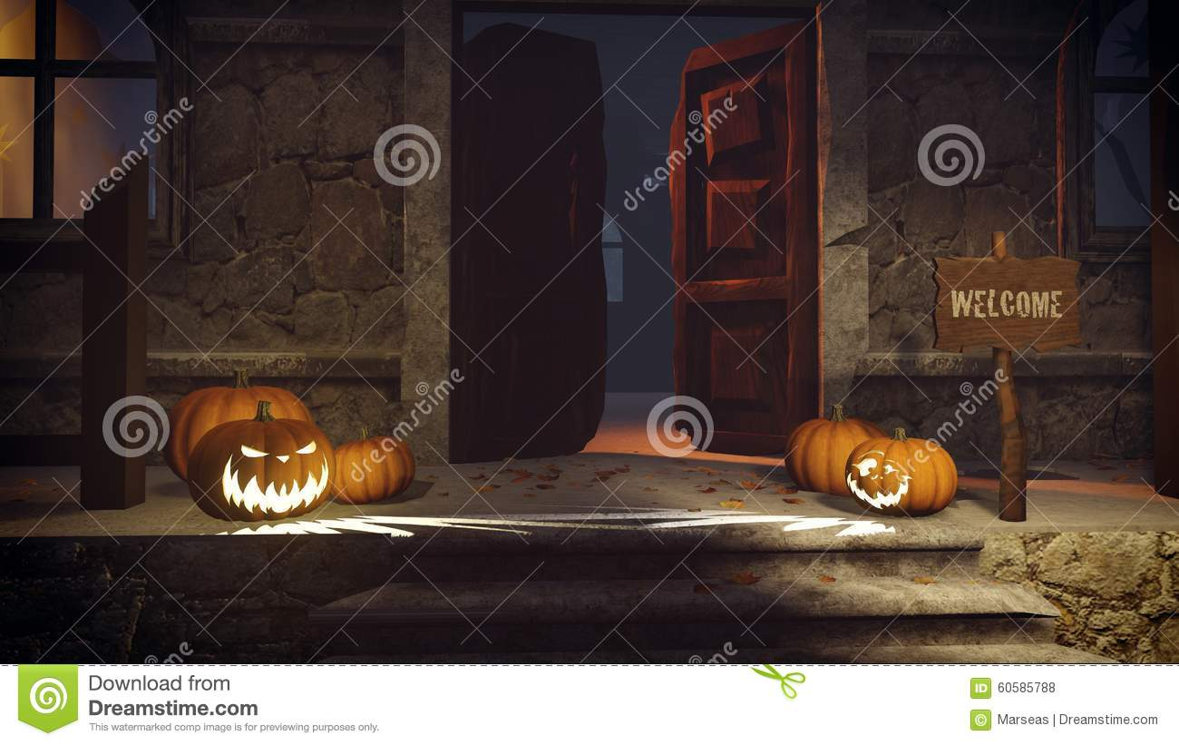 Royalty-Free Illustration. Download Halloween Pumpkins On The Doorstep ... & Halloween Pumpkins On The Doorstep Stock Illustration - Image ... pezcame.com