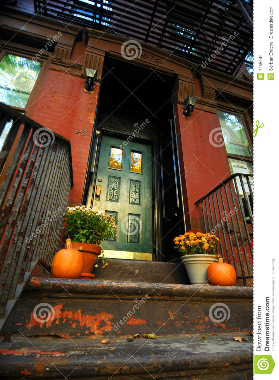 Halloween Pumpkins by doorway