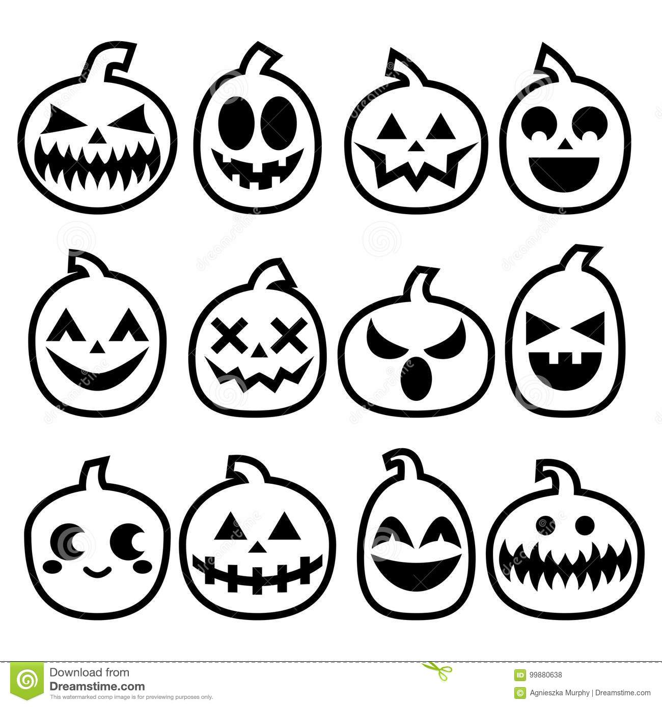 Halloween Pumpkins Icon Set Halloween Scary Faces Design Collection