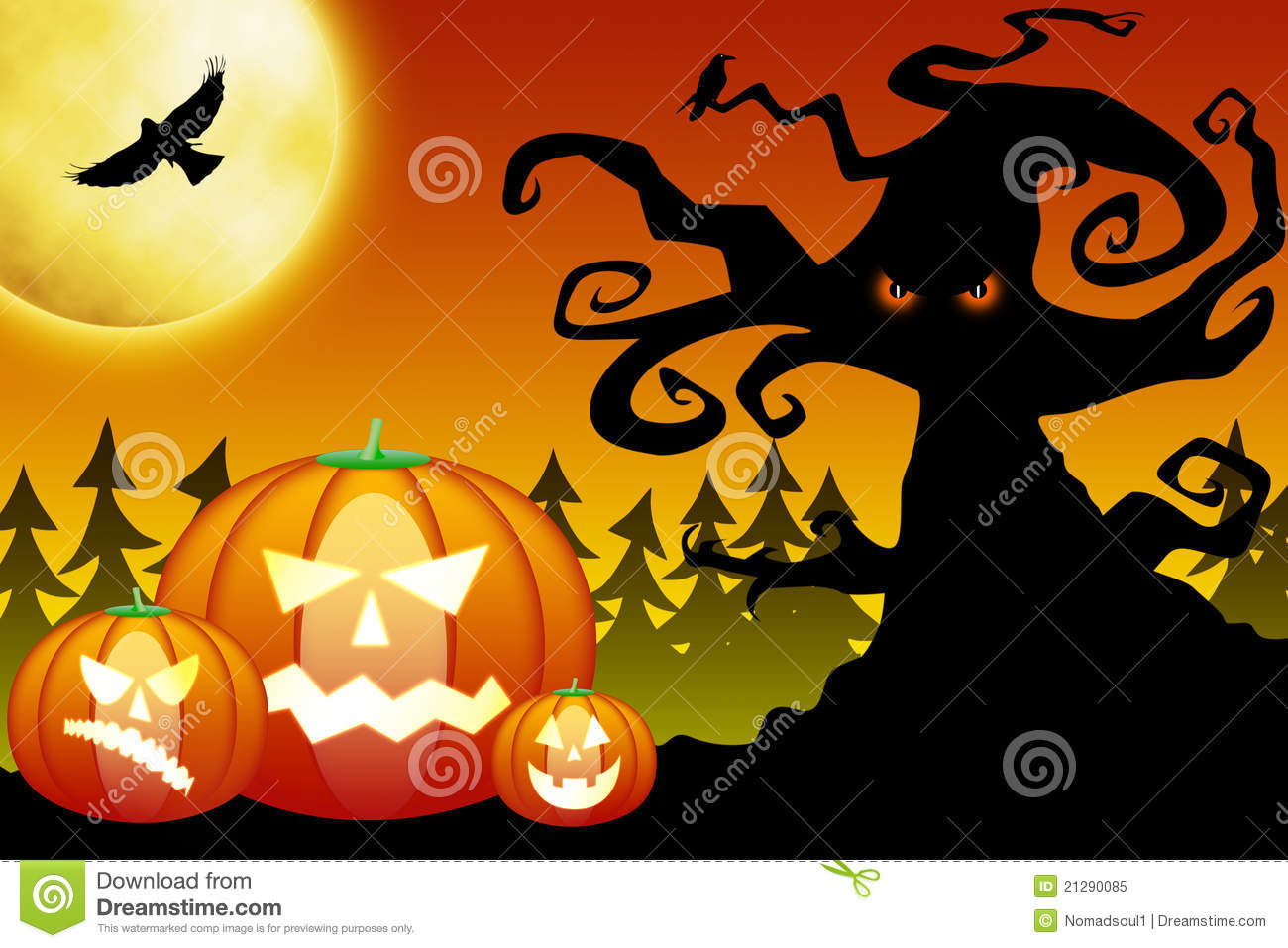 halloween pumpkins in scary forest stock illustration - illustration
