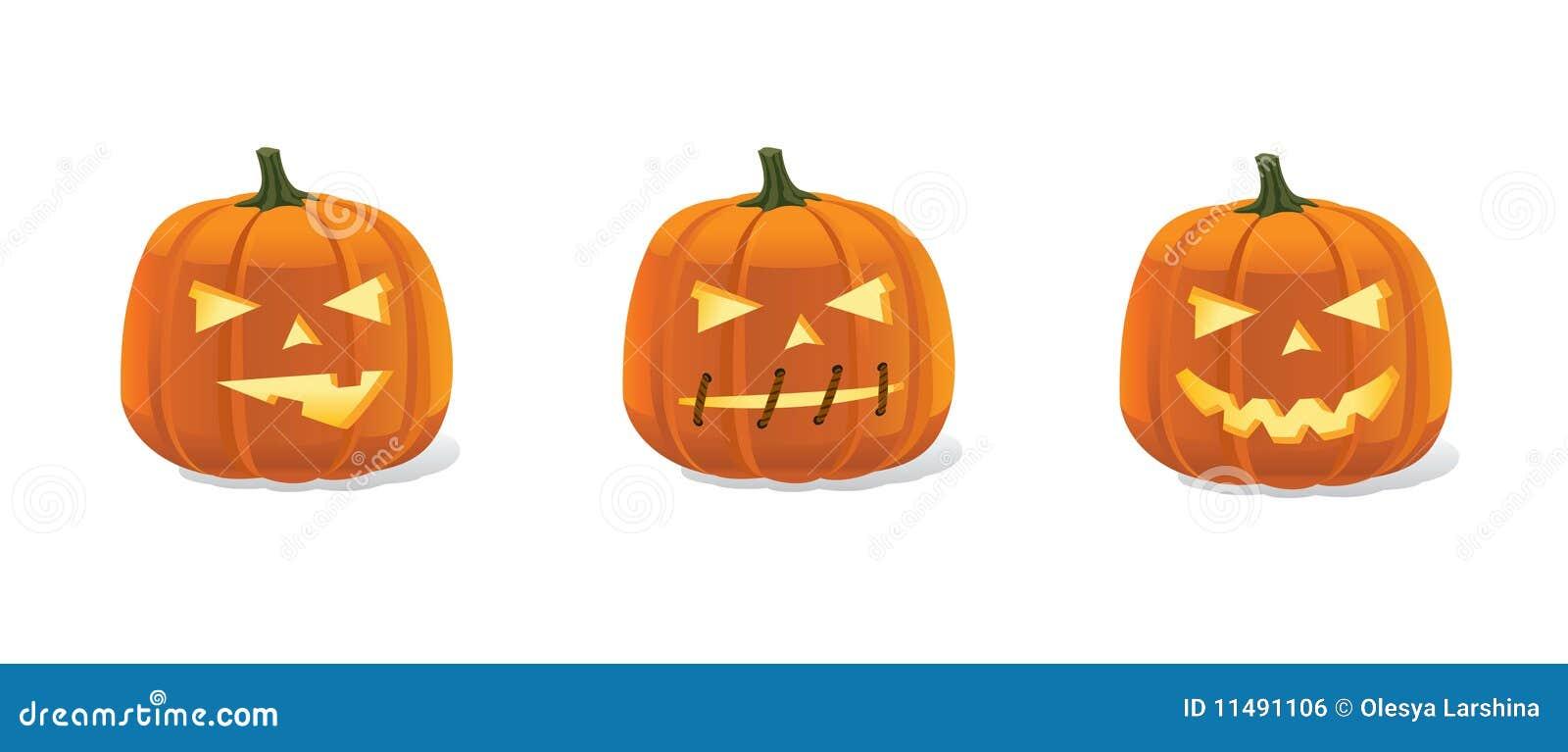 Halloween Pumpkins Smileys Set With Luminous Eyes Royalty