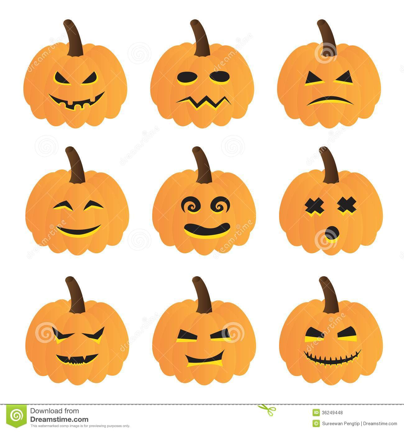 halloween pumpkins vector collection stock vector image