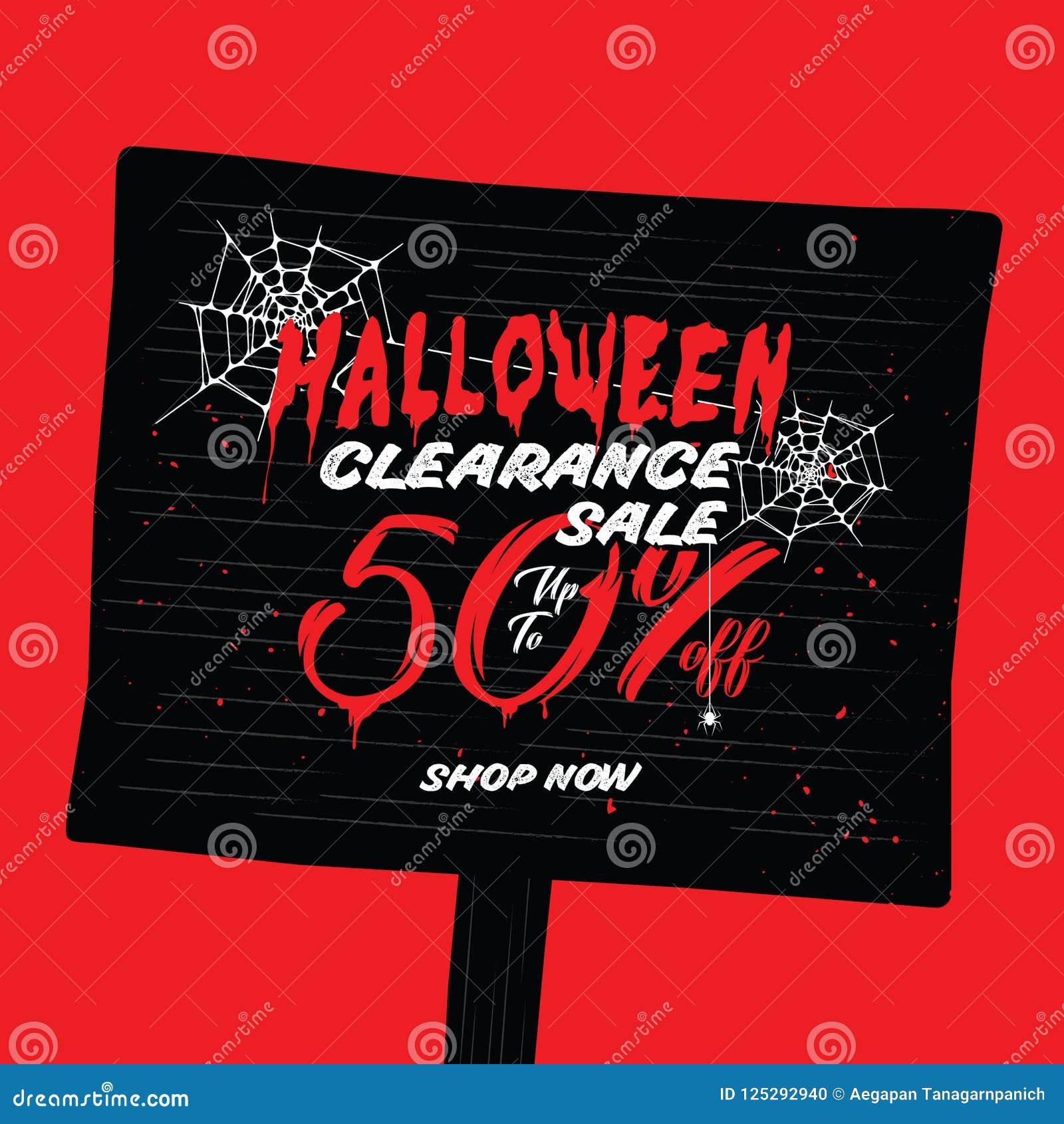 6d5ddcdef9a492 Halloween-Räumungsverkauf Vol. 2 50 Prozent Überschriftsdesign für Fahne  oder Plakat Verkaufs-und Rabatt-Konzept