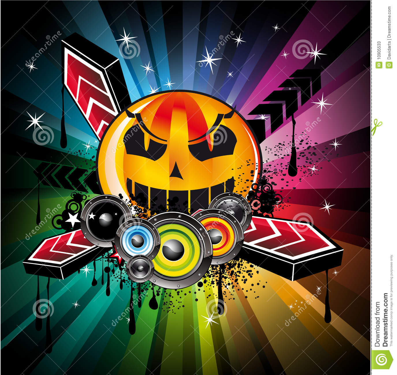 abstract halloween rainbow disco music background for event flyers