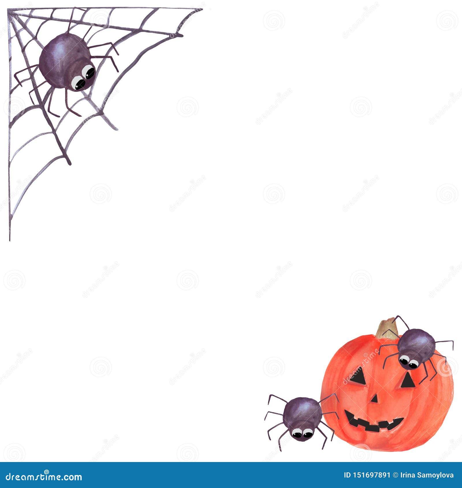Halloween ramy zaproszenia karta akwareli sieć z pająkiem i banią halloween odizolowywa? symbolu biel