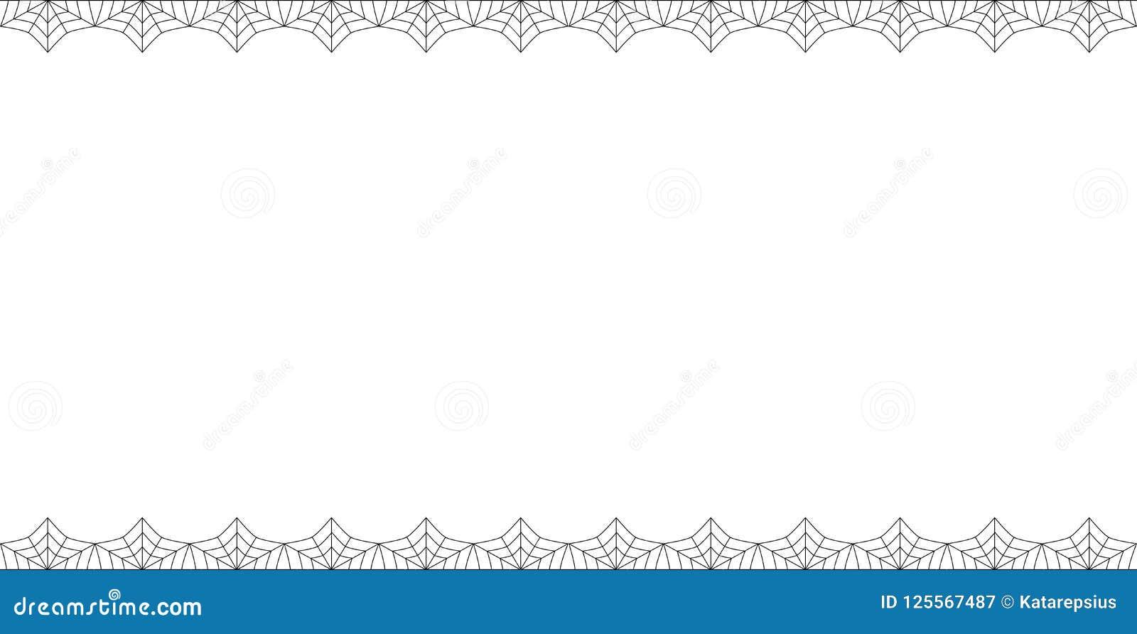 Halloween-rechthoekdubbel boven en beneden spiderwebgrens met exemplaarruimte op witte achtergrond Royalty-vrije Illustratie