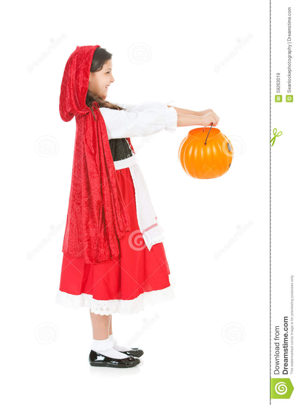 Halloween: Red Riding Hood Holding Out Bucket