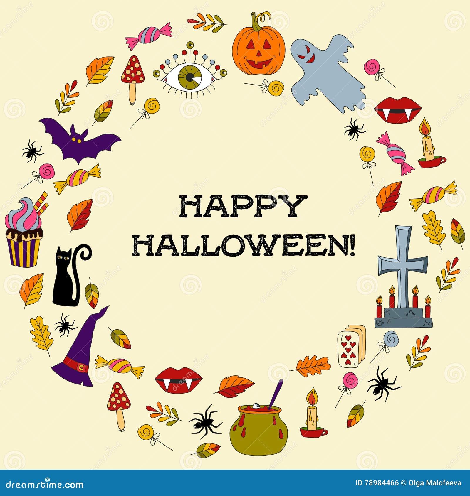 Halloween Round Text Border Stock Vector Illustration Of Child