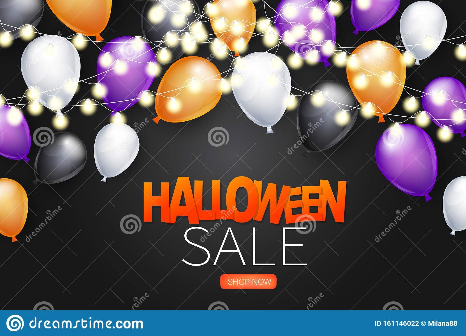 Halloween Sale Background With Black White Purple And Orange Balloons And Glowing Lights Garland Stock Vector Illustration Of Lights Horror 161146022